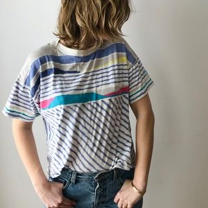 vintage Le Coq Sportif striped / geo crop t-shirt